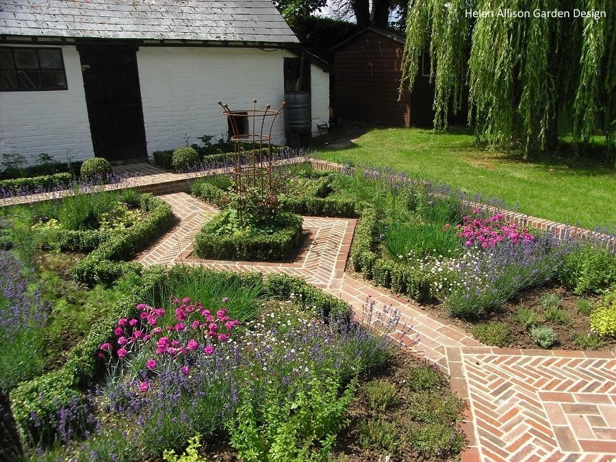 Clay paver path through herb garden by Helen Allison Garden Design