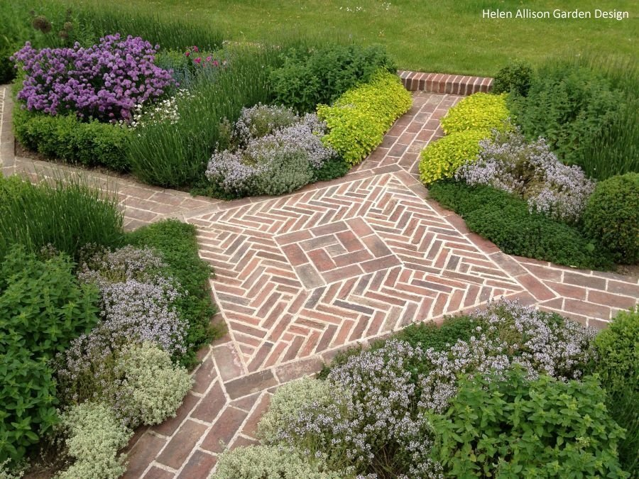 Herringbone brick design by Helen Allison Garden Design