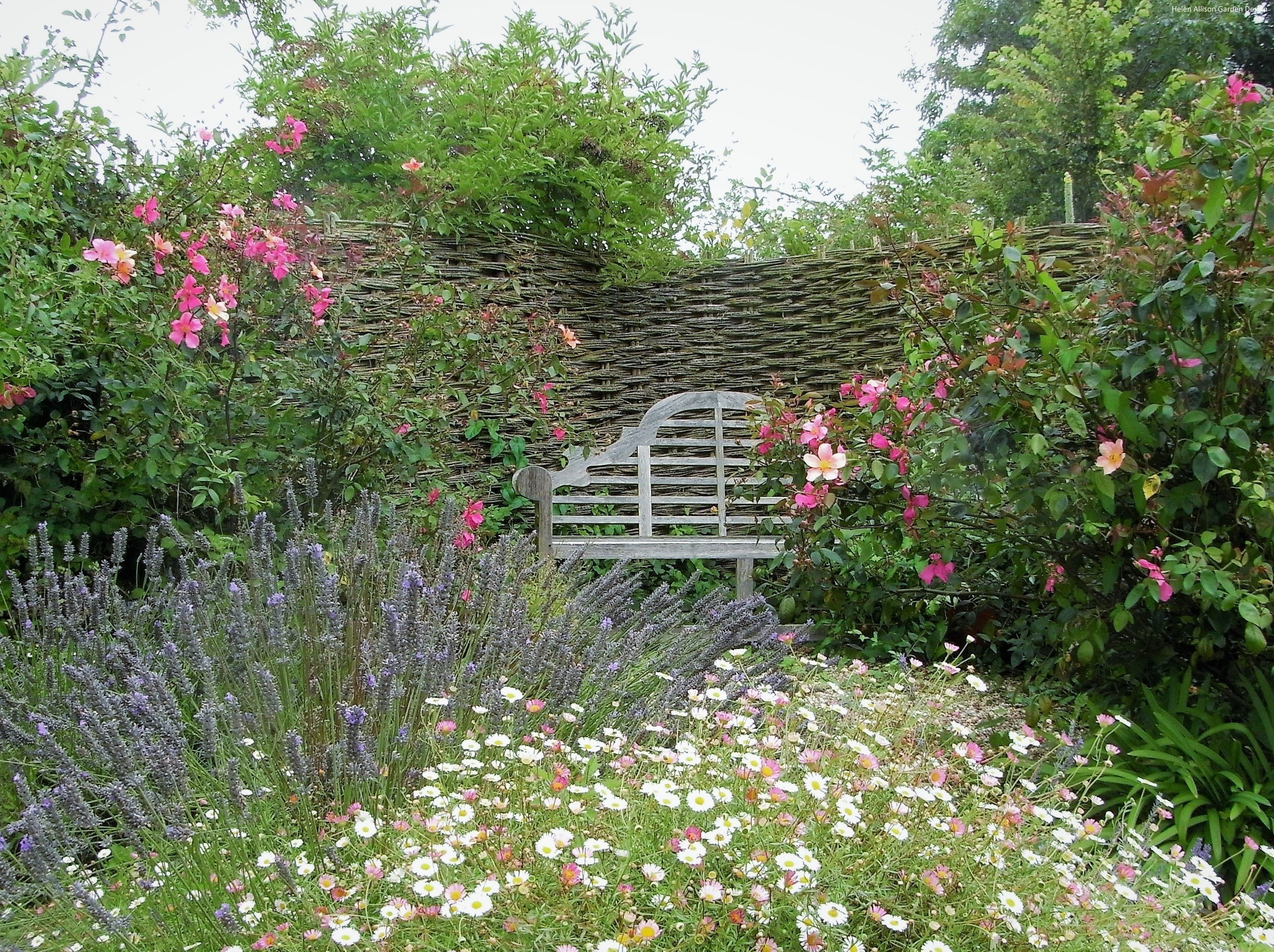 Lutyens bench in cottage garden by Helen Allison Garden Designer, Suffolk